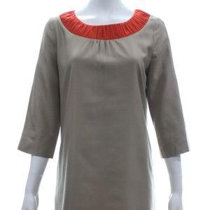 ORLA KIELY TAN SILK BLEND 3/4 SLEEVE DRESS SIZE 12